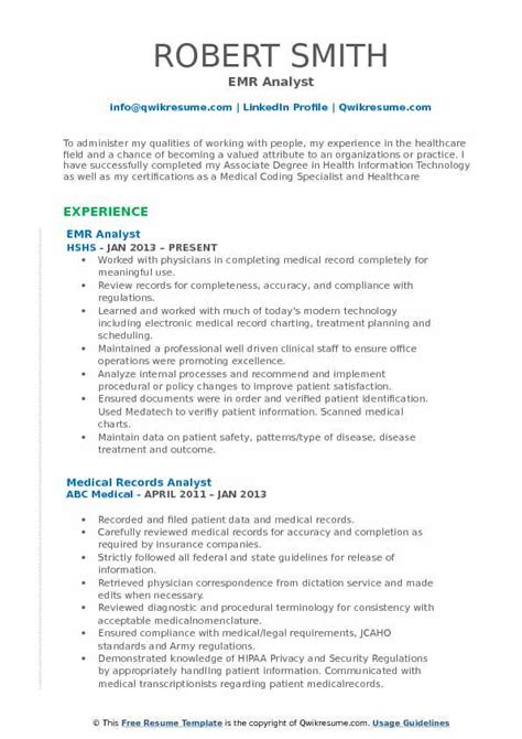 Records Description Resume by Records Analyst Resume Sles Qwikresume
