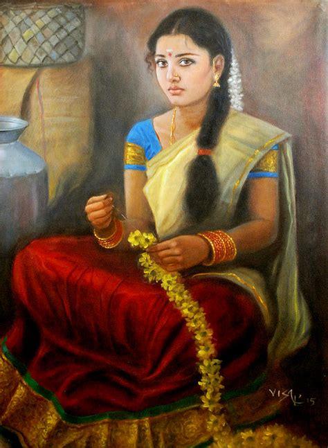 tamil flower stiching painting by vishalandra dakur
