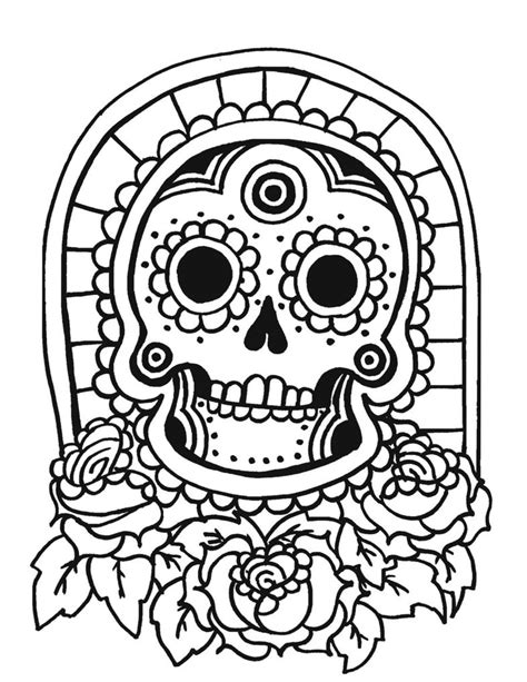 Day Of The Dead Masker Kleurplaat by Sugar Skull Coloring Pages Getcoloringpages