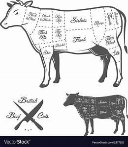 British Butcher Cuts Of Beef Diagram Royalty Free Vector