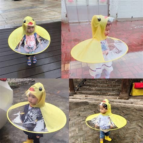 ufo yellow duck rain coat cover baby rain poncho children