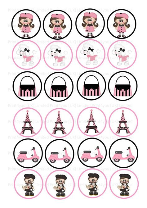icing cupcake cake toppers edible french paris shabby