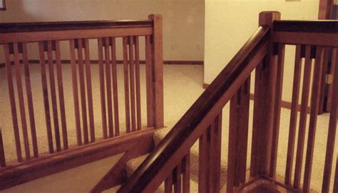 craftsman style stair railing pecan mission style railings alder woodworking 6253