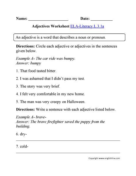 adjectives worksheet 2 ela literacy l 3 1a language