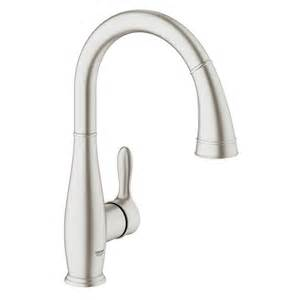 touch kitchen faucets shop grohe parkfield supersteel 1 handle high arc kitchen faucet at lowes