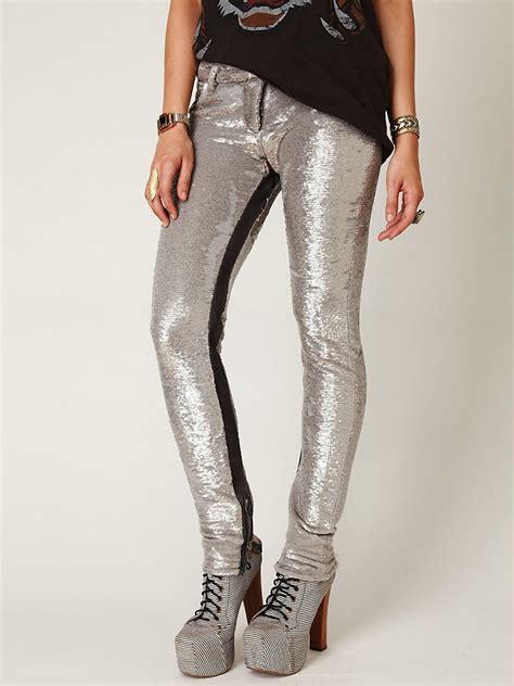 lyst  people distressed sequin pants  metallic