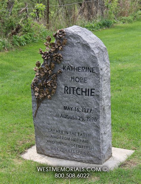 ritchie granite headstone with bronze roses by west