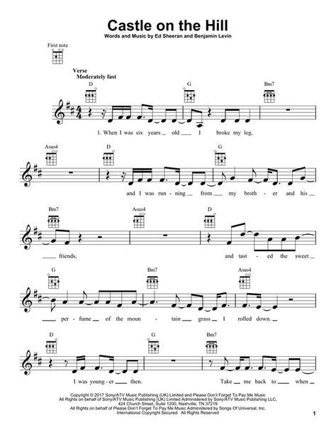ed sheeran castle   hill ukulele rock   sheet