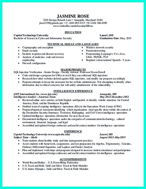 Cyber Security Resume Template by 2695 Best Images About Resume Sle Template And Format On Business Intelligence
