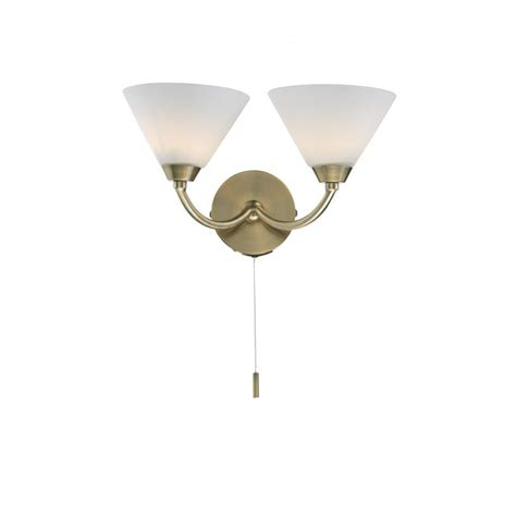 modern brass double wall light double insulated pull