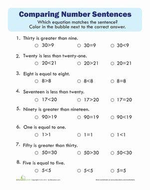 comparing numbers quiz worksheet educationcom