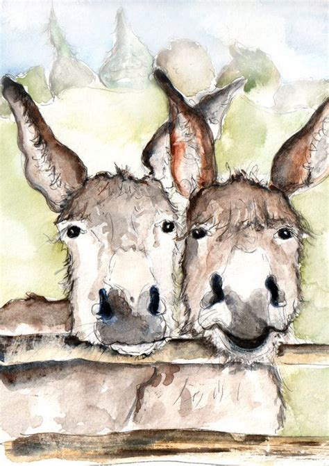 Two Donkeys Illustration Painting Donkeys Watercolor