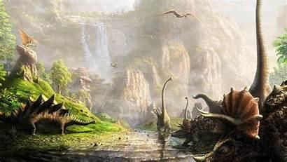Prehistoric Land Streams Waterfalls Dinosaurs Digital Wallpapers