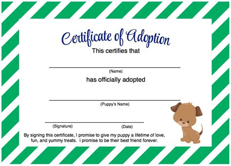 puppy party adopt  puppy certificate  printable