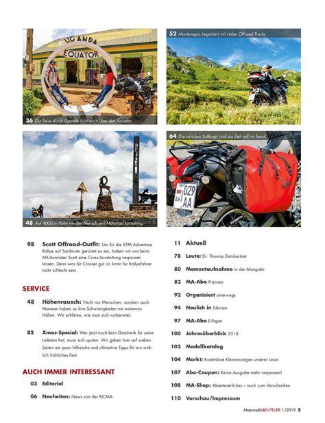 Das Lesen Sie Der Januarfebruar Ausgabe by Motorradabenteuer Januar Februar 2019 Gedruckte Ausgabe