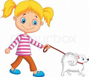Cute cartoon girl walking with dog | Stock Vector | Colourbox