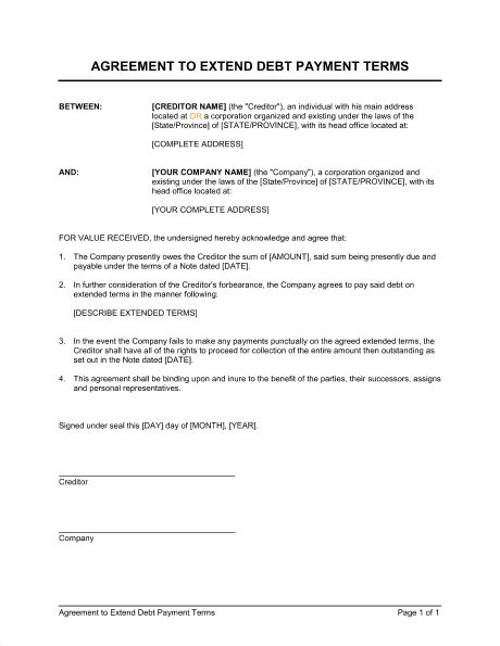 5 Payment Agreement Templates - Word - Excel - PDF Formats