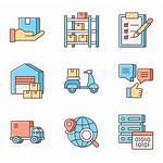 Logistics Icons Warehouse Vector
