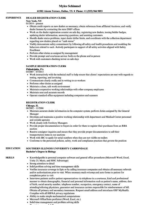 Register Resume by Registration Clerk Resume Sles Velvet
