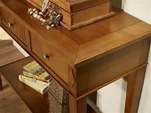 Console Bois Massif : console leslie en merisier de style directoire meuble en merisier massif ~ Teatrodelosmanantiales.com Idées de Décoration