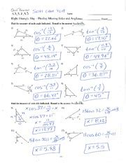 471) law of cosines (p. Trig Ratios with Answers - Name Date Class Practice B 3'2 Trigonometric Ratios Use the figure ...