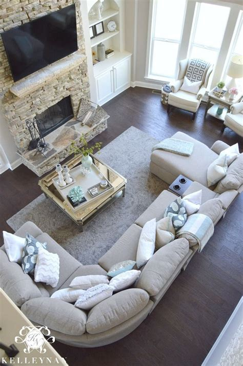 Living Room With Sectional And Corner Fireplace by Two Story Living Room With La Z Boy Aspen Corner Sectional
