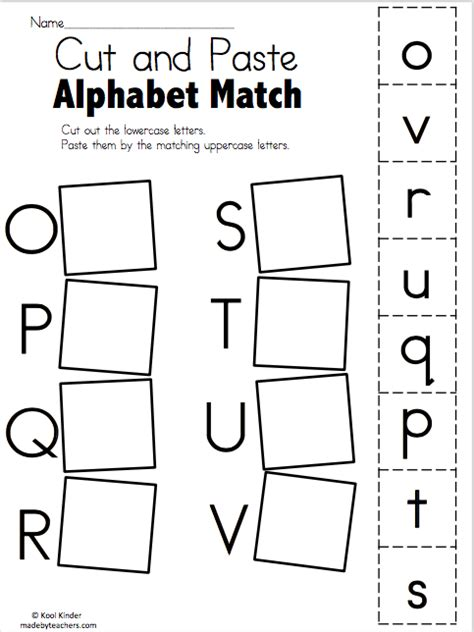 alphabet match     worksheets   teachers
