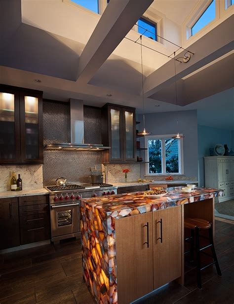 If counter space is a hot commodity in your kitchen, flip an old file box or crate on its side for an extra place to display your. 30 Unique Kitchen Countertops Of Different Materials ...