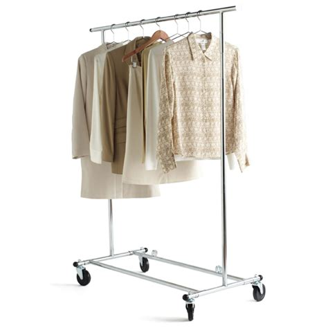 metal clothing racks clothes rack chrome metal folding commercial clothes rack the container store