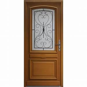 porte d39entree bois gignac poussant gauche h215 x l90 With porte d entrée pvc avec materiaux salle de bain