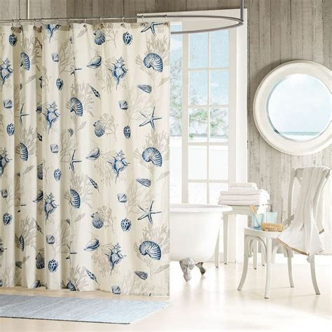 seashells shower curtain beach theme cotton  shipping everyday    beach day