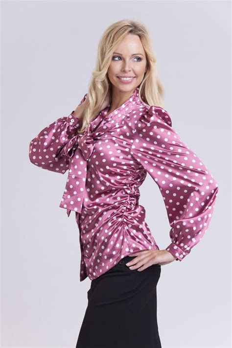fitted blouses purple polka dot satin fitted blouse