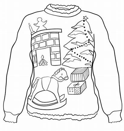 Ugly Sweater Coloring Christmas Pages Printable Eve