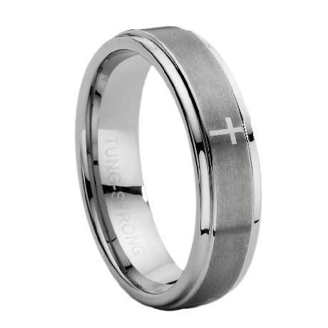 mens tungsten carbide ring  lasered cross