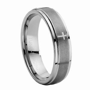 mens tungsten carbide ring with lasered cross With mens wedding rings with crosses