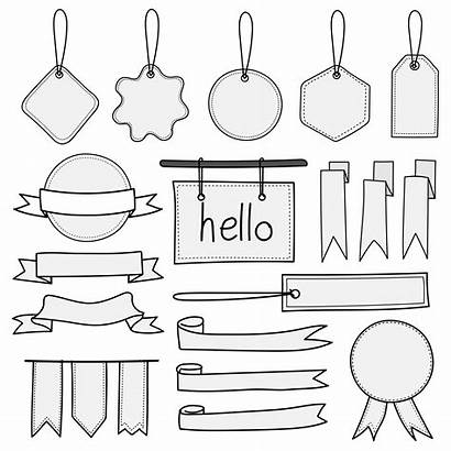 Banners Drawn Hand Doodle Elements Vector Labels