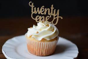 Twenty One Cupcake Topper, Happy Birthday, Macaroon, Pie