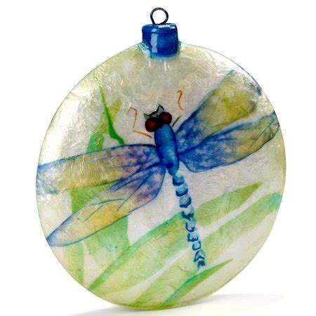 blue dragonfly capiz disk christmas tree ornament