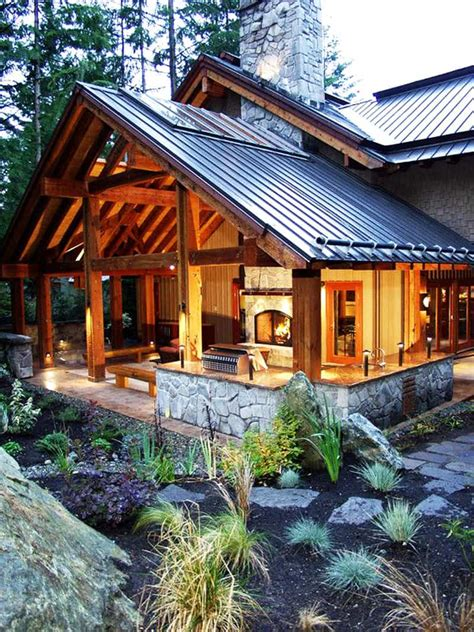 fire pit outdoor patio backyard deck porch covered roof cabin fireplace log patios decks outside remodel decor idea living wood