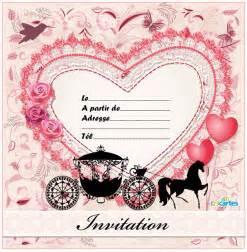 carte fã licitations mariage invitation anniversaire coeur de princesse 123 cartes