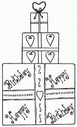 Coloring Birthday Gift Box Pages Present Gifts Boxes Comments sketch template