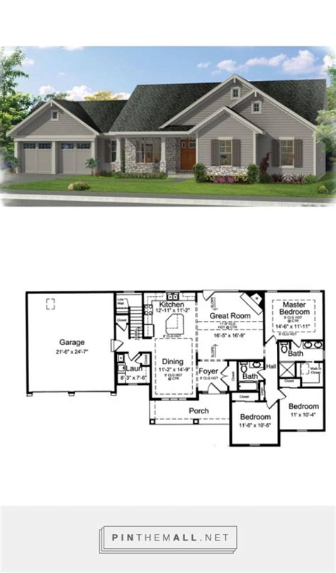 Craftsman Style House Plan 3 Beds 2 Baths 1593 Sq/Ft