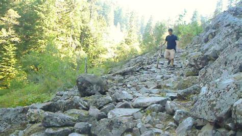 model released hiking away path through thick