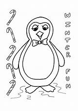 Penguin Coloring Toby Christmas Crafts sketch template