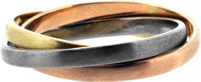 russian style wedding ring in 3 colour carat gold