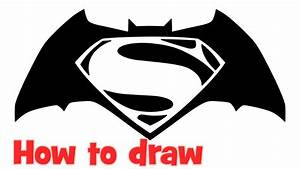 How to draw Batman v Superman Dawn of Justice logo step by ...