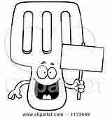 Spatula Clipart Cartoon Coloring Vector Mascot Holding Happy Sign Cory Thoman Outlined 2021 Template sketch template