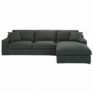 canape d39angle 5 places en coton gris ardoise stuart With tapis exterieur avec scoop canapé d angle droit fixe 4 places