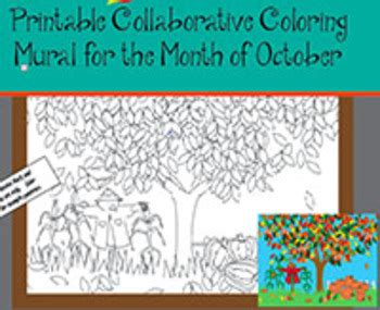 printable collaborative coloring mural  october  art