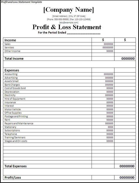 profit  loss statement template  word templates